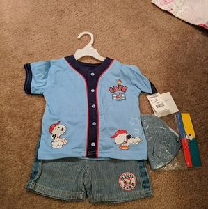 Baby Snoopy baseball outfit. NWT